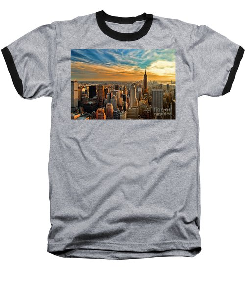 City Sunset New York City Usa Baseball T-Shirt