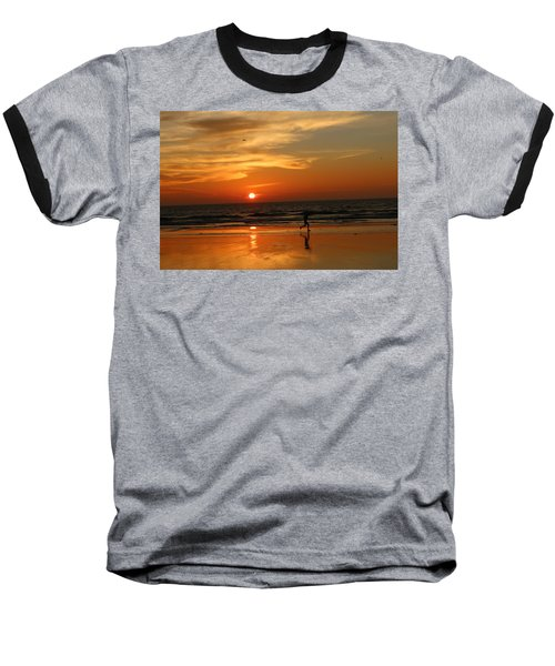 Clam Digging At Sunset - 3 Baseball T-Shirt
