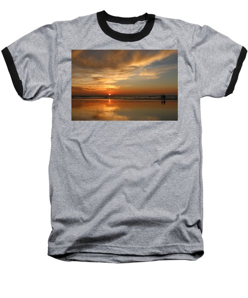 Clam Digging At Sunset - 4 Baseball T-Shirt