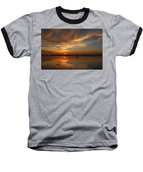 Clam Digging At Sunset -1  Baseball T-Shirt