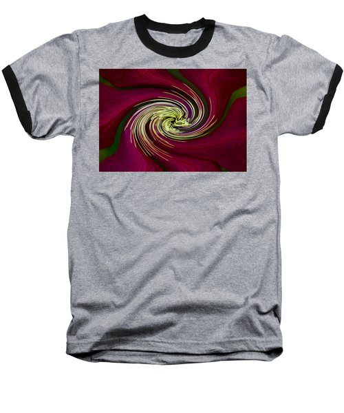 Claret Red Swirl Clematis Baseball T-Shirt by Debbie Oppermann