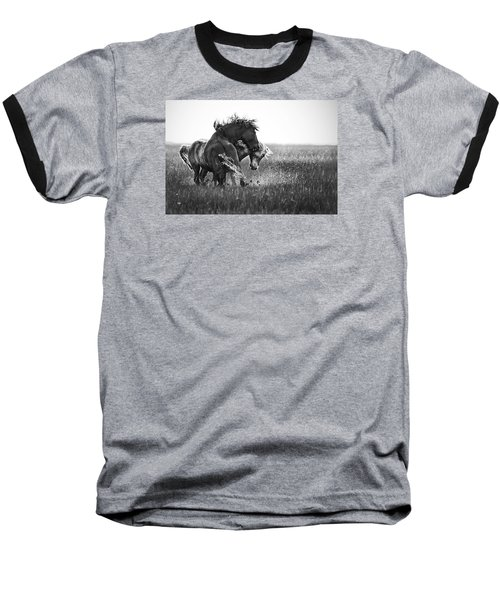 Baseball T-Shirt featuring the photograph Clash Of Two Wild Stallions by Bob Decker