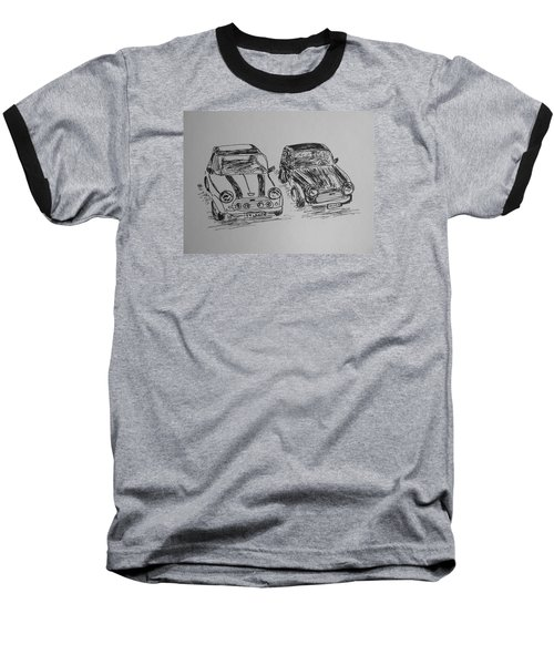 Baseball T-Shirt featuring the drawing Classic Minis by Victoria Lakes