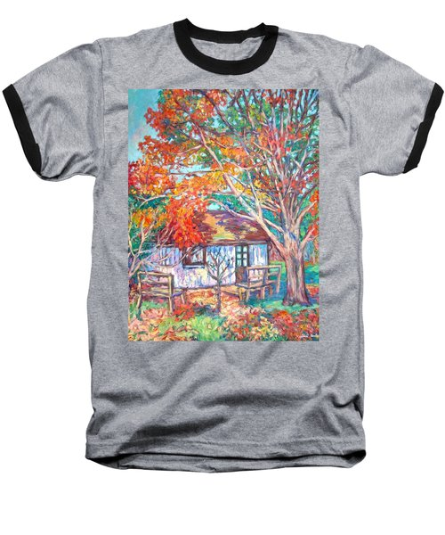 Claytor Lake Cabin In Fall Baseball T-Shirt by Kendall Kessler
