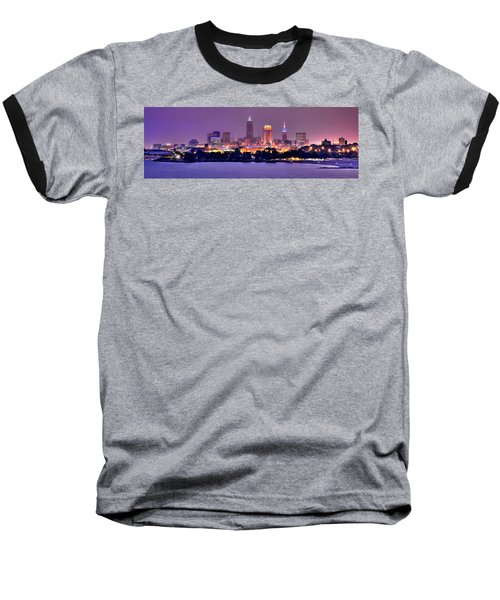 Cleveland Skyline At Night Evening Panorama Baseball T-Shirt