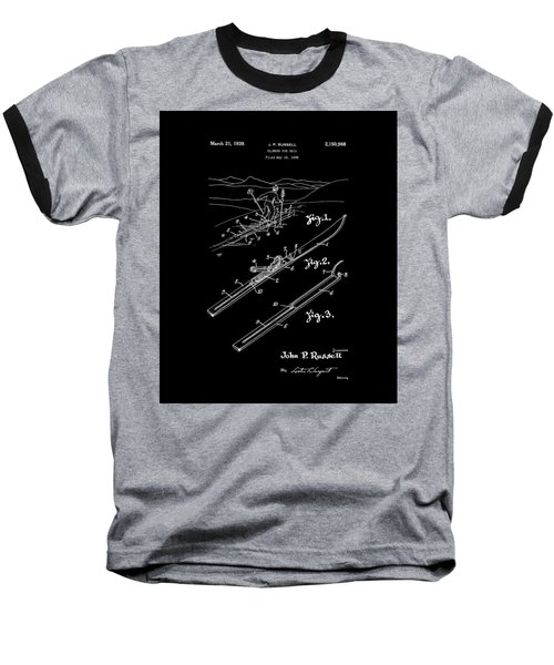 Climber For Skis 1939 Russell Patent Art Baseball T-Shirt by Lesa Fine