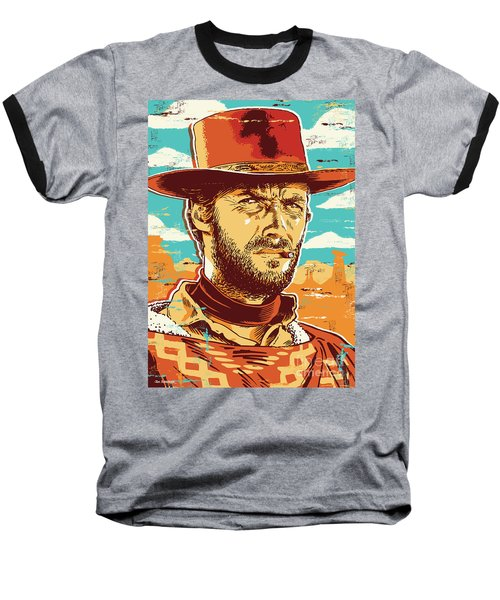 Clint Eastwood Pop Art Baseball T-Shirt