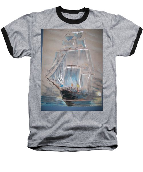 Baseball T-Shirt featuring the mixed media Clipper In Mist by Peter Suhocke