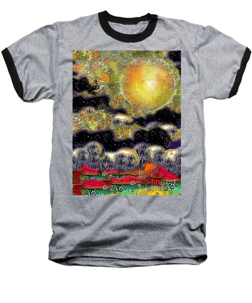 Clonescape Moon Baseball T-Shirt by Carol Jacobs
