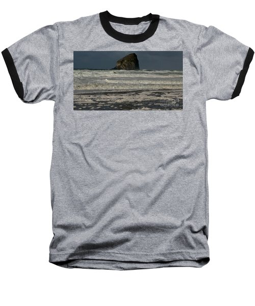 Close Haystack Rock Baseball T-Shirt by Susan Garren