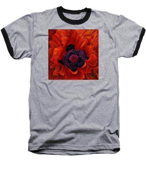 Close Up Poppy Baseball T-Shirt