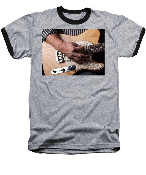 Close Up Shot Of A Man Playing An Electric Gutair Baseball T-Shirt