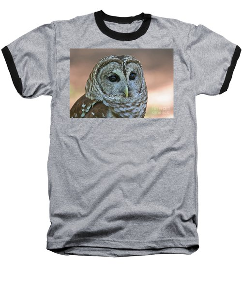 Closeup Of A Barred Owl  Baseball T-Shirt