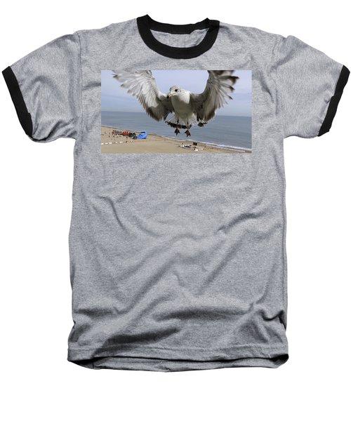 Closeup Of Hovering Seagull Baseball T-Shirt by Richard Rosenshein