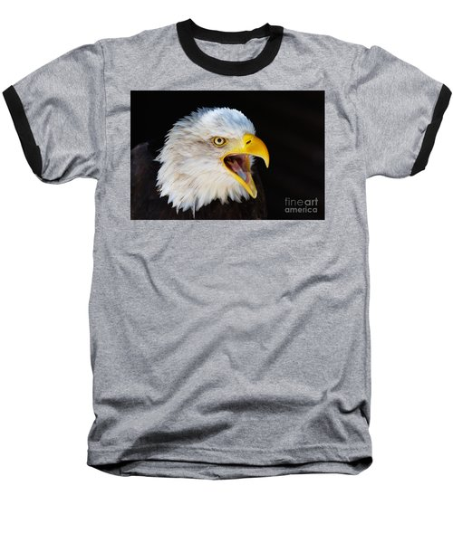 Closeup Portrait Of A Screaming American Bald Eagle Baseball T-Shirt