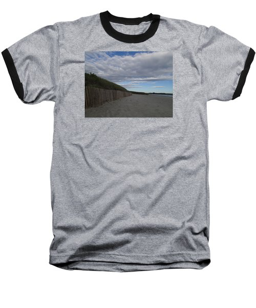 Baseball T-Shirt featuring the photograph Clouded Beach by Robert Nickologianis