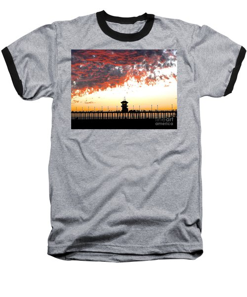 Clouds On Fire Baseball T-Shirt by Margie Amberge