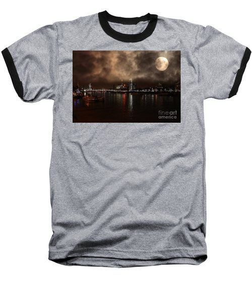 Clouds Over The River Thames Baseball T-Shirt by Doc Braham