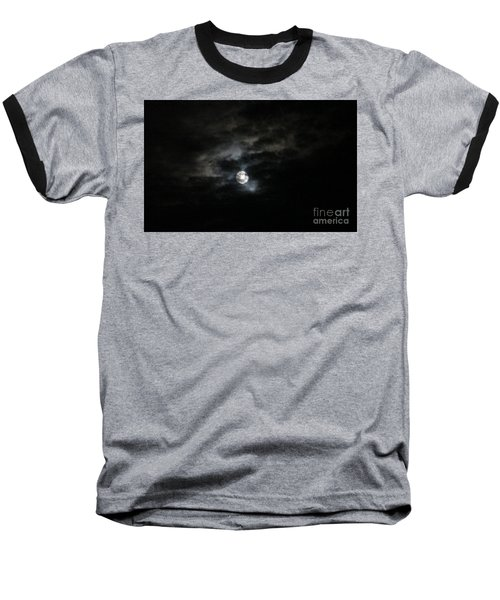 Baseball T-Shirt featuring the photograph Night Time Cloudy Dark Moon by Barbara Yearty