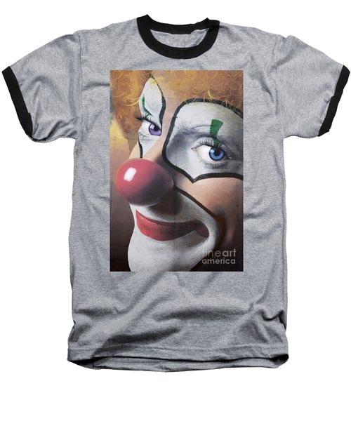 Clown Mural Baseball T-Shirt by Bob Christopher
