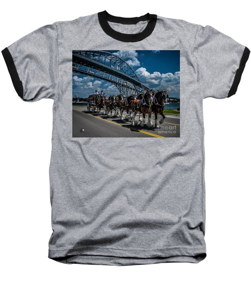 Clydesdales And Blue Water Bridges Baseball T-Shirt