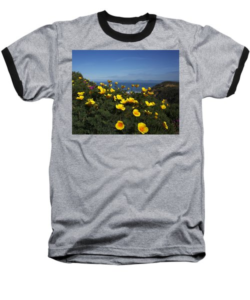 Coastal California Poppies Baseball T-Shirt