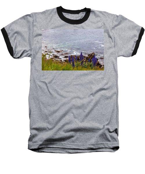 Coastal Cliff Flowers Baseball T-Shirt by Melinda Ledsome
