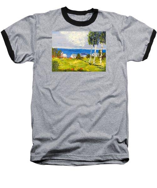 Baseball T-Shirt featuring the painting Coastal Fishing Village by Pamela  Meredith