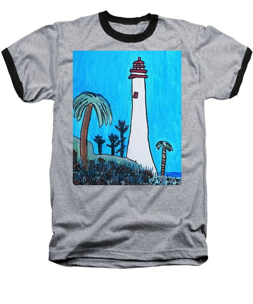 Baseball T-Shirt featuring the painting Coastal Lighthouse by Artists With Autism Inc
