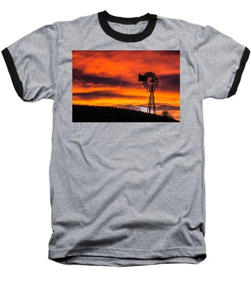 Cobblestone Windmill At Sunset Baseball T-Shirt