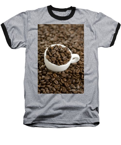 Baseball T-Shirt featuring the photograph Coffe Beans And Coffee Cup by Lee Avison