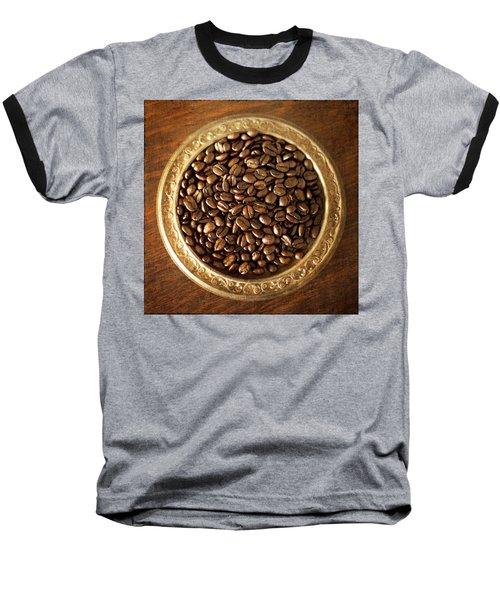 Coffee Beans On Antique Silver Platter Baseball T-Shirt