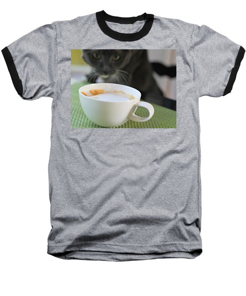 Coffee Cat Baseball T-Shirt