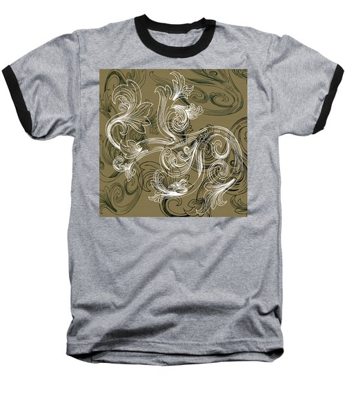 Coffee Flowers 2 Olive Baseball T-Shirt