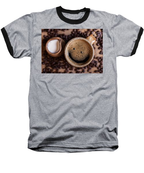 Coffee With A Smile Baseball T-Shirt by Aaron Aldrich