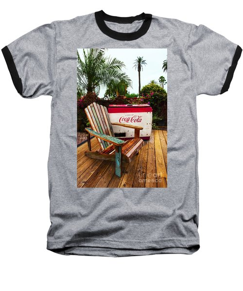Baseball T-Shirt featuring the photograph Vintage Coke Machine With Adirondack Chair by Jerry Cowart