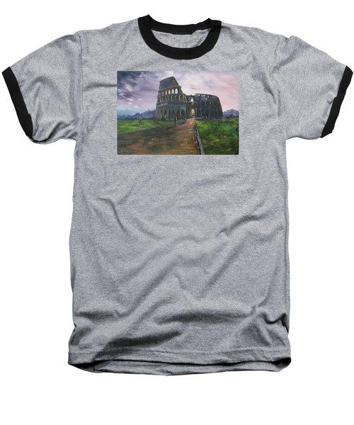 Baseball T-Shirt featuring the painting Coliseum Rome by Jean Walker