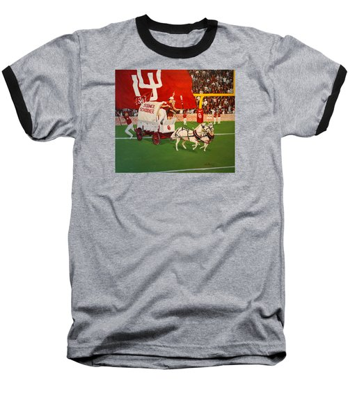 Baseball T-Shirt featuring the painting College Football In America by Alan Lakin