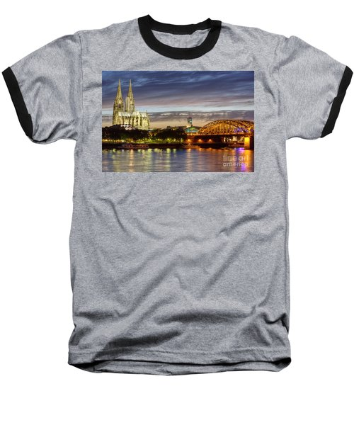 Cologne Cathedral With Rhine Riverside Baseball T-Shirt by Heiko Koehrer-Wagner