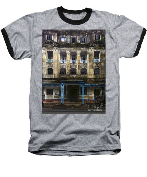 Baseball T-Shirt featuring the photograph Colonial Facade Merchant Street 8th Ward Central Yangon Burma by Ralph A  Ledergerber-Photography