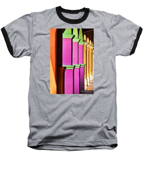 Baseball T-Shirt featuring the photograph Colorful Colonnade - Lake Chapala - Mexico - Travel Photography By David Perry Lawrence by David Perry Lawrence