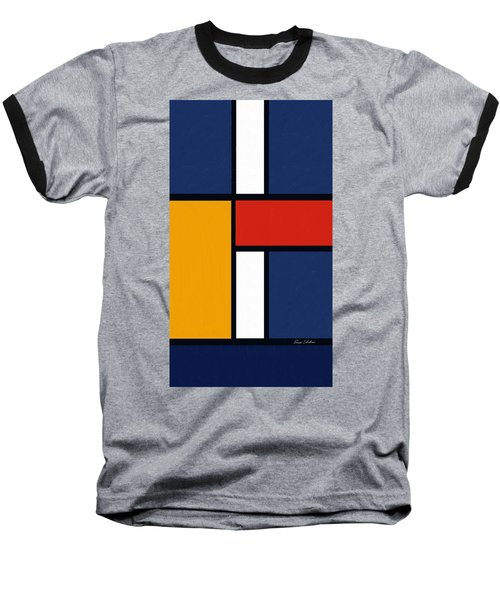 Color Squares - Mondrian Inspired Baseball T-Shirt by Enzie Shahmiri