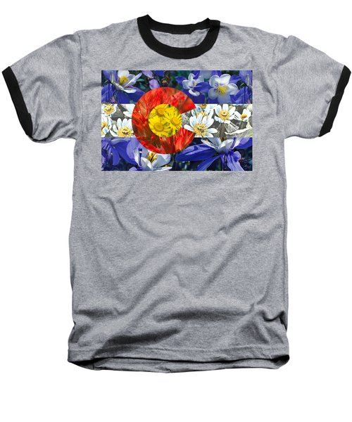 Colorado State Flag With Wildflower Textures Baseball T-Shirt