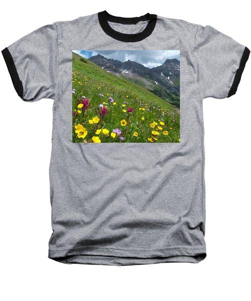 Colorado Wildflowers And Mountains Baseball T-Shirt