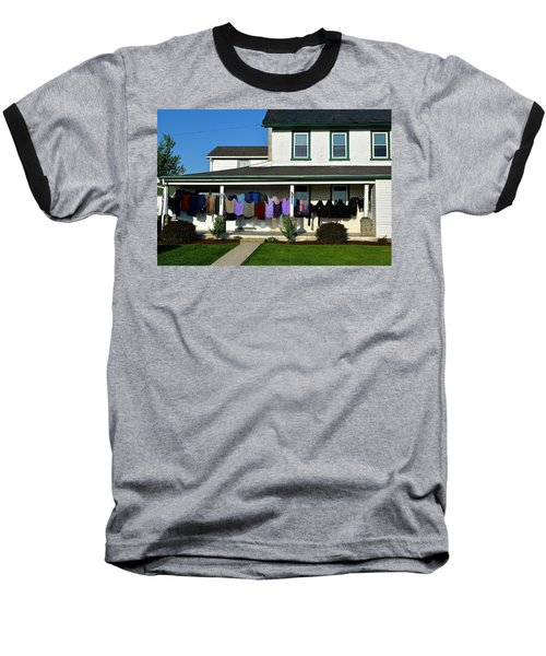 Colorful Amish Laundry On Porch Baseball T-Shirt