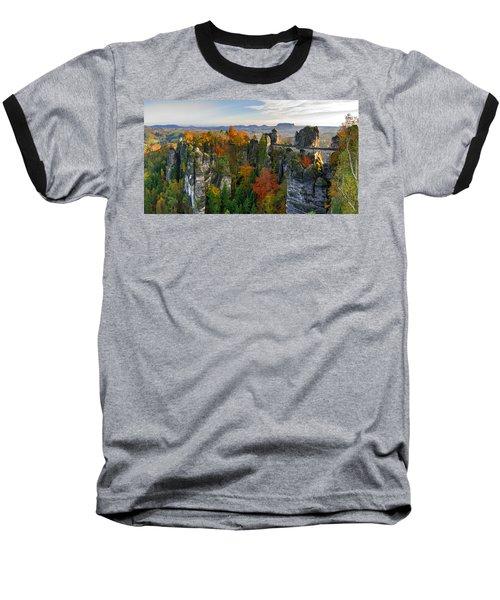 Colorful Bastei Bridge In The Saxon Switzerland Baseball T-Shirt