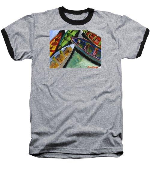 Colorful Boats Baseball T-Shirt