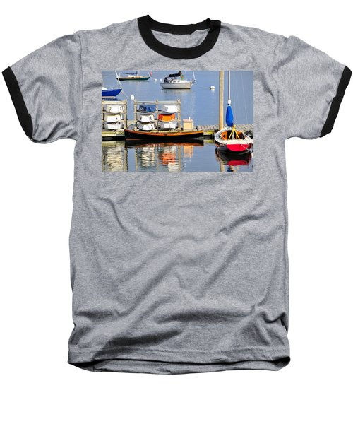 Colorful Boats Rockland Maine Baseball T-Shirt
