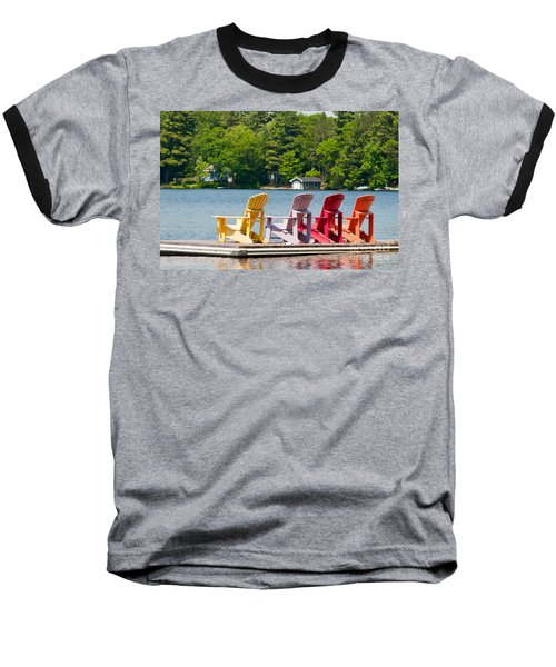 Baseball T-Shirt featuring the photograph Colorful Chairs by Les Palenik
