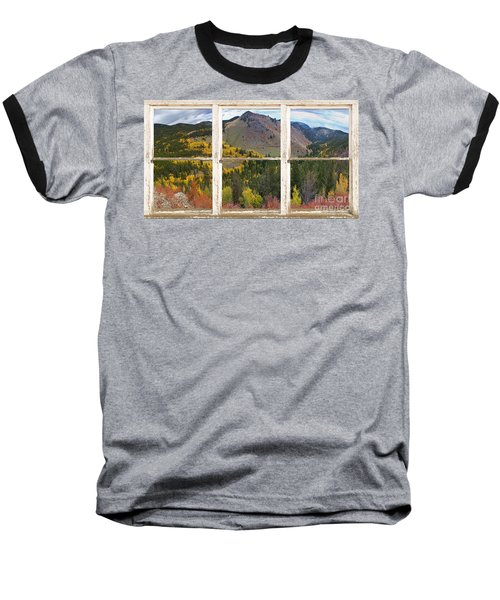 Colorful Colorado Rustic Window View Baseball T-Shirt